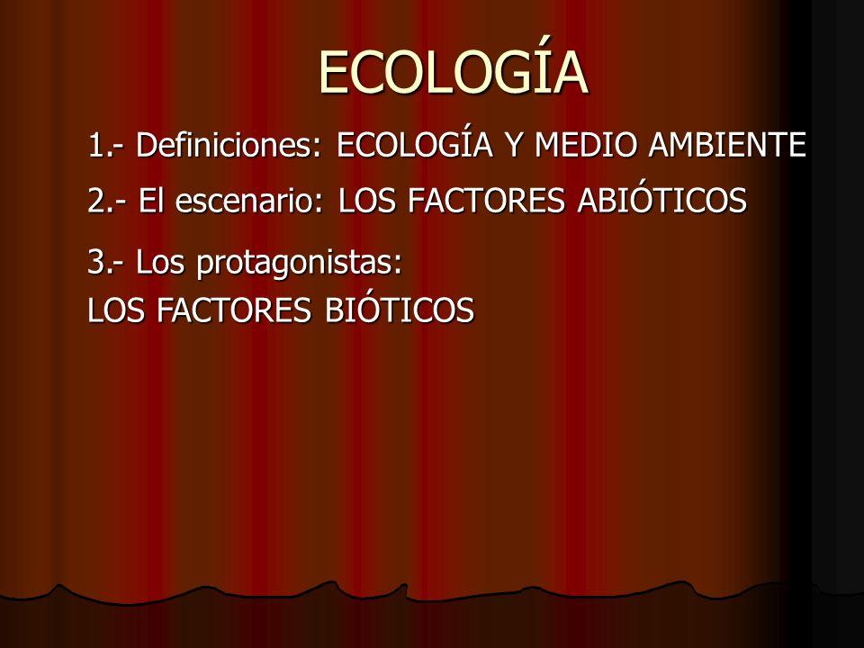 ECOLOGÍA 2.- El escenario: LOS FACTORES ABIÓTICOS 1.- Definiciones: ECOLOGÍA Y MEDIO AMBIENTE 3.- Los protagonistas: LOS FACTORES BIÓTICOS