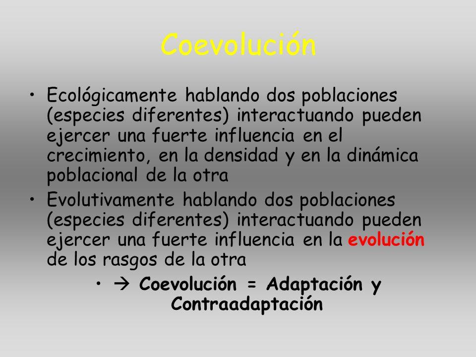 Coevolución Ecológicamente hablando dos poblaciones (especies diferentes) interactuando pueden ejercer una fuerte influencia en el crecimiento, en la