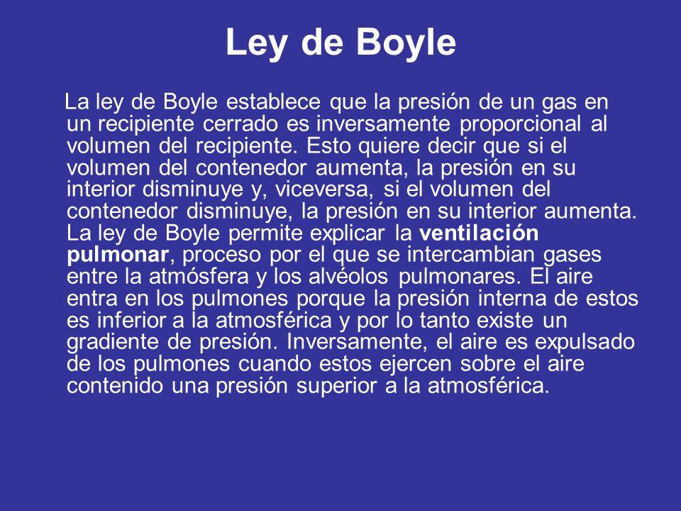 Ley de Boyle La ley de Boyle establece que la presión de un gas en un recipiente cerrado es inversamente proporcional al volumen del recipiente.