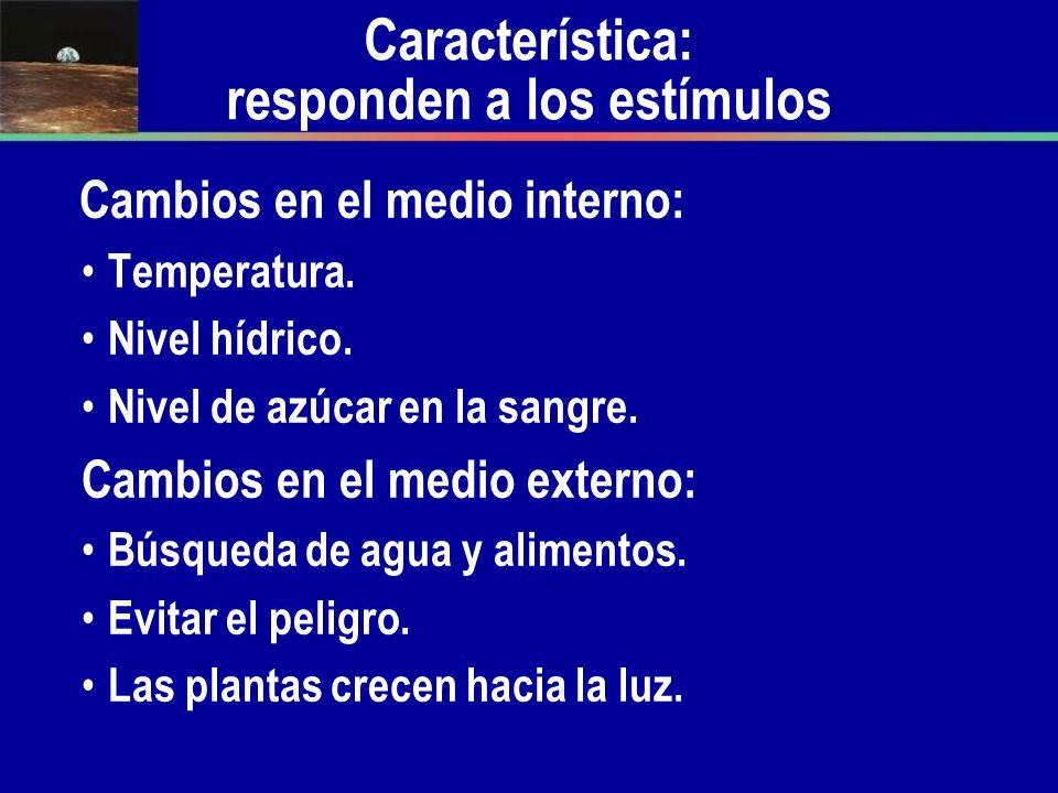 Característica: responden a los estímulos Cambios en el medio interno: Temperatura. Nivel hídrico. Nivel de azúcar en la sangre. Cambios en el medio e
