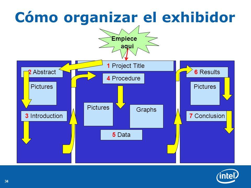 34 Cómo organizar el exhibidor 2 Abstract 1 Project Title 4 Procedure 5 Data 6 Results Graphs Pictures 3 Introduction7 Conclusion Empiece aqui