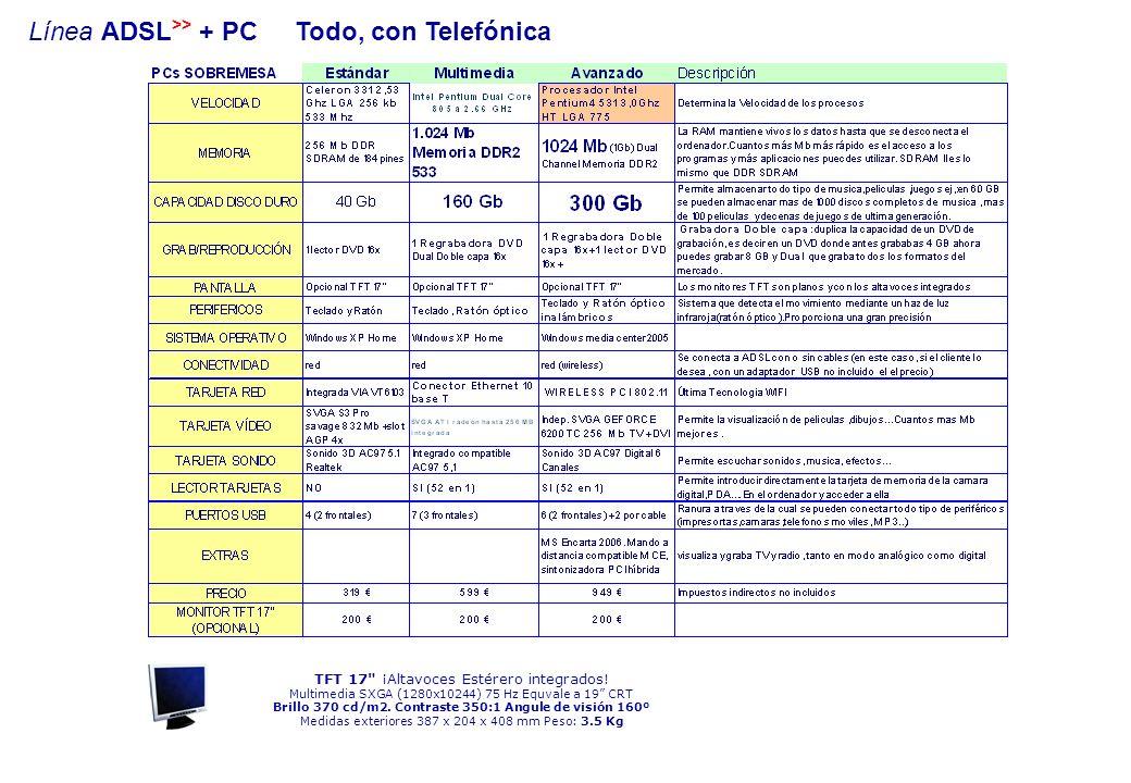 Línea ADSL >> + PC Todo, con Telefónica TFT 17 ¡Altavoces Estérero integrados.