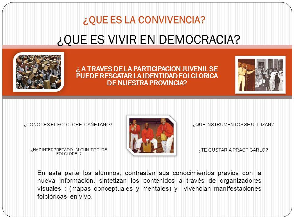 ¿QUE ES LA CONVIVENCIA? ¿QUE ES VIVIR EN DEMOCRACIA? ¿ A TRAVES DE LA PARTICIPACION JUVENIL SE PUEDE RESCATAR LA IDENTIDAD FOLCLORICA DE NUESTRA PROVI