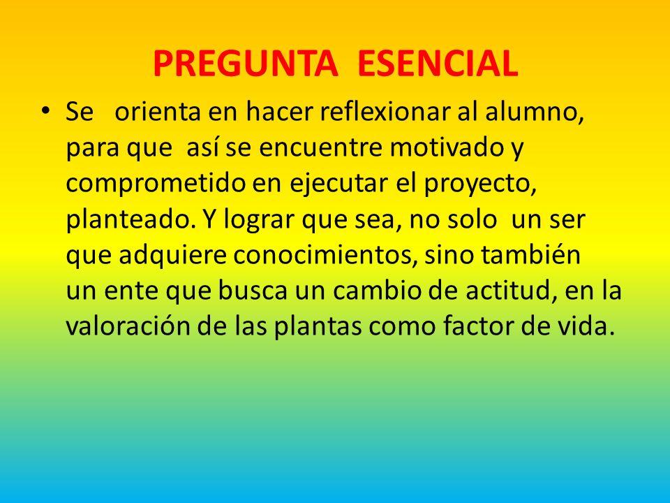 PREGUNTA ESENCIAL Se orienta en hacer reflexionar al alumno, para que así se encuentre motivado y comprometido en ejecutar el proyecto, planteado.