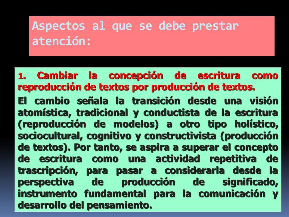 Aspectos al que se debe prestar atención: 1. Cambiar la concepción de escritura como reproducción de textos por producción de textos. El cambio señala