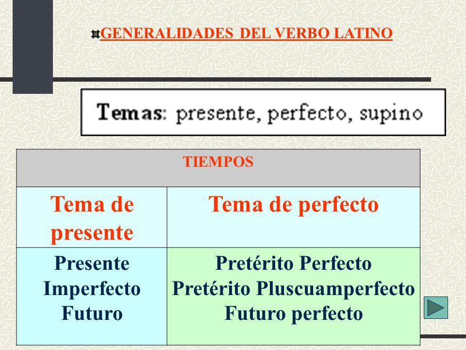 GENERALIDADES DEL VERBO LATINO TIEMPOS Tema de presente Tema de perfecto Presente Imperfecto Futuro Pretérito Perfecto Pretérito Pluscuamperfecto Futu