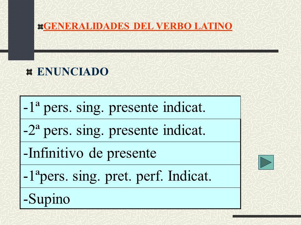 ENUNCIADO GENERALIDADES DEL VERBO LATINO -1ª pers. sing. presente indicat. -2ª pers. sing. presente indicat. -Infinitivo de presente -1ªpers. sing. pr