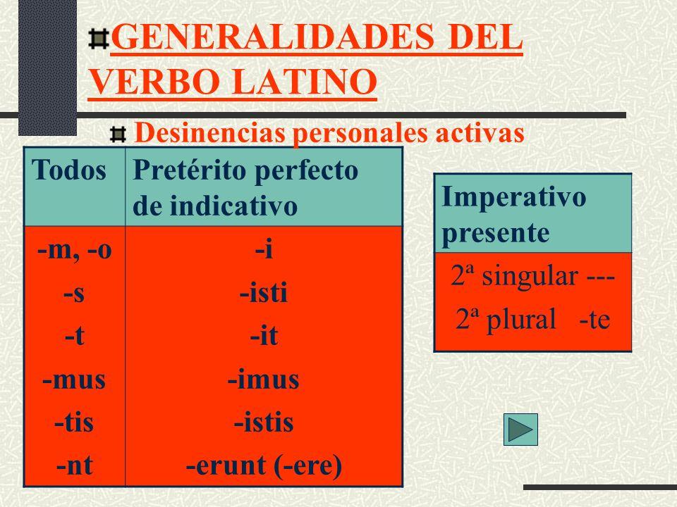 GENERALIDADES DEL VERBO LATINO Indicativo y subjuntivo Imperativo Presente -r -ris, -re -tur -mur -mini -ntur 2ª sing: -re 2ª plural: -mini Desinencias personales pasivas para los tiempos de presente