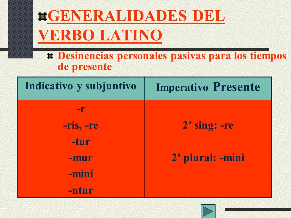 GENERALIDADES DEL VERBO LATINO Indicativo y subjuntivo Imperativo Presente -r -ris, -re -tur -mur -mini -ntur 2ª sing: -re 2ª plural: -mini Desinencia