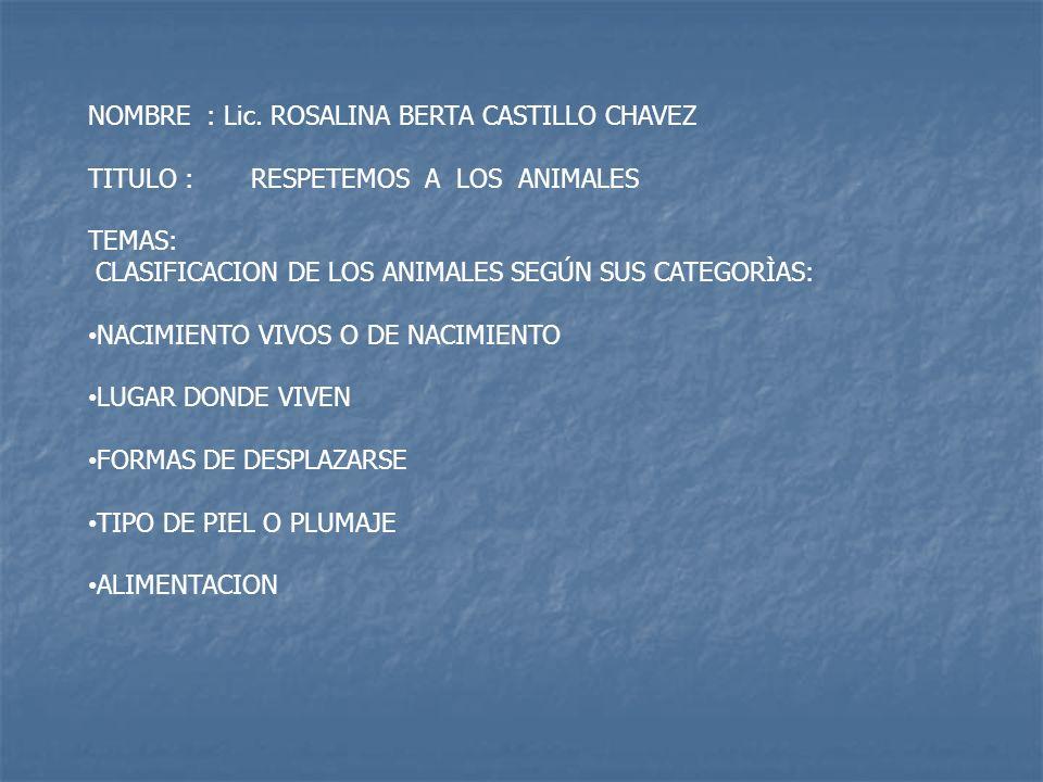 NOMBRE : Lic. ROSALINA BERTA CASTILLO CHAVEZ TITULO : RESPETEMOS A LOS ANIMALES TEMAS: CLASIFICACION DE LOS ANIMALES SEGÚN SUS CATEGORÌAS: NACIMIENTO