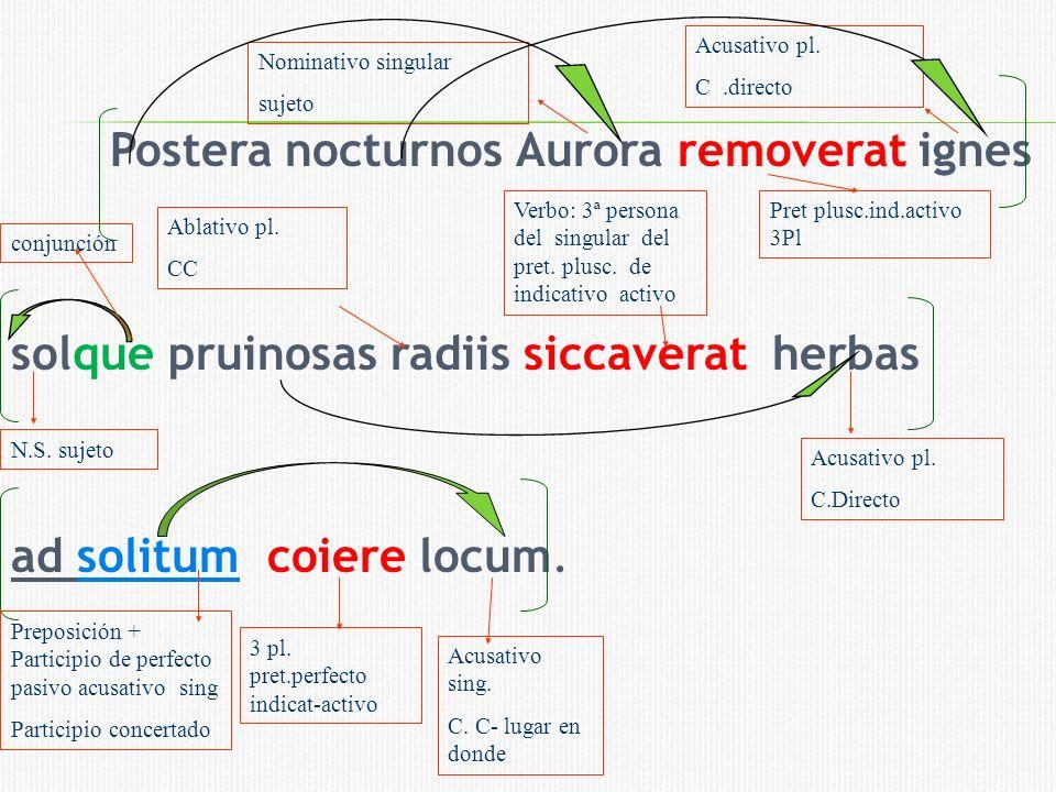 Postera nocturnos Aurora removerat ignes solque pruinosas radiis siccaverat herbas ad solitum coiere locum. N.S. sujeto Nominativo singular sujeto Pre