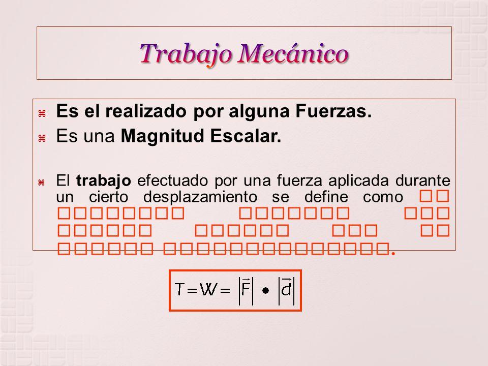 POSIBILIDADES PARA EL TRABAJO MECÁNICO NULO POSITIVO NEGATIVO F y X sentido contrario F y X mismo sentido F y X perpendiculares.