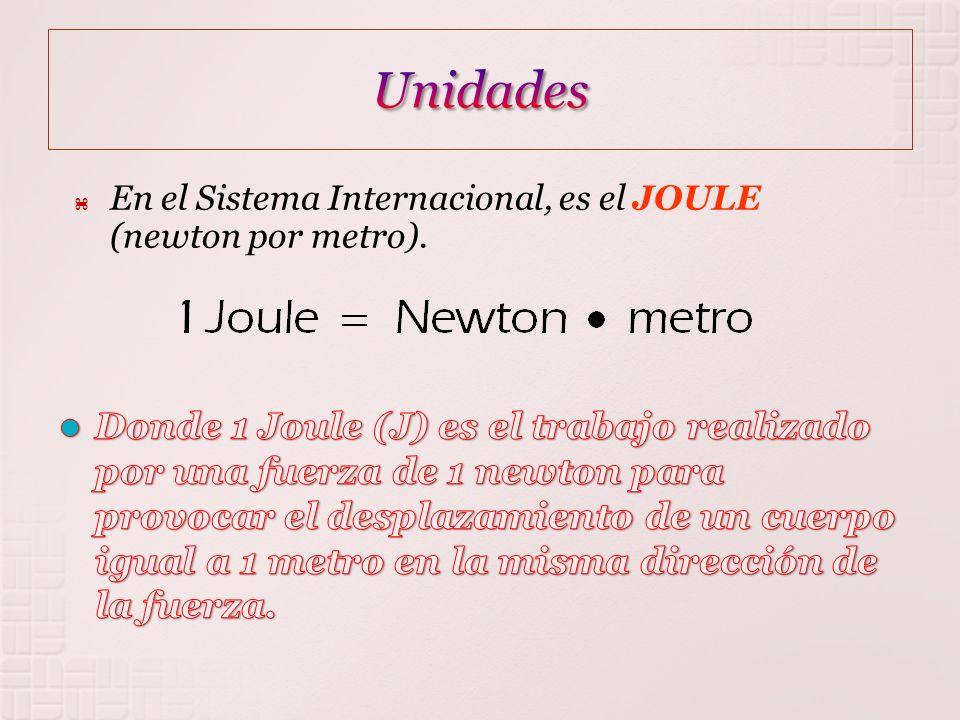 En el Sistema Internacional, es el JOULE (newton por metro).
