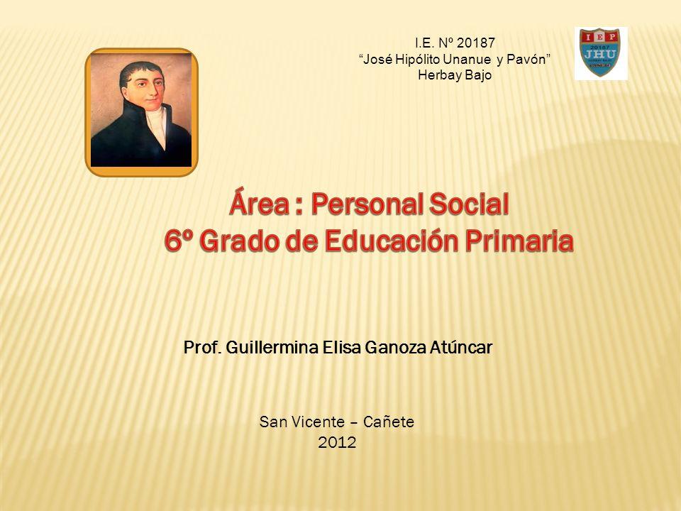 I.E. Nº 20187 José Hipólito Unanue y Pavón Herbay Bajo Prof. Guillermina Elisa Ganoza Atúncar San Vicente – Cañete 2012
