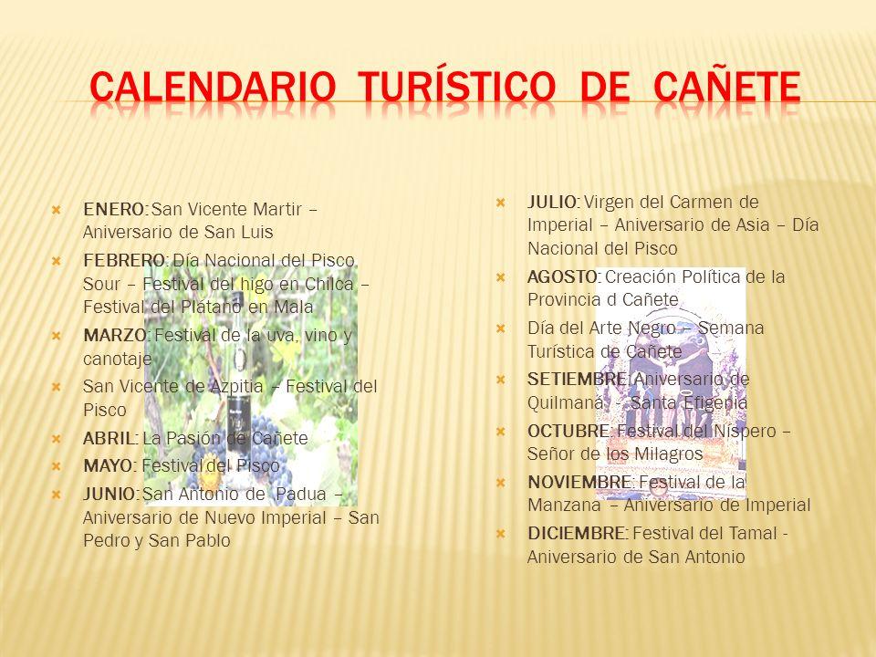 ENERO: San Vicente Martir – Aniversario de San Luis FEBRERO: Día Nacional del Pisco Sour – Festival del higo en Chilca – Festival del Plátano en Mala