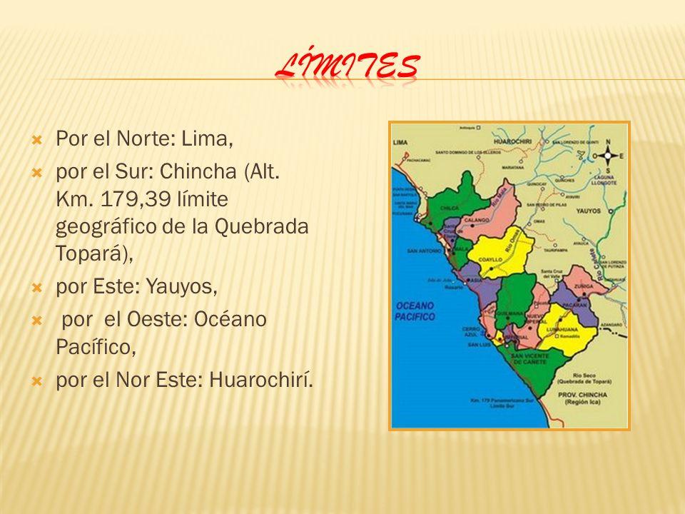 Por el Norte: Lima, por el Sur: Chincha (Alt. Km. 179,39 límite geográfico de la Quebrada Topará), por Este: Yauyos, por el Oeste: Océano Pacífico, po