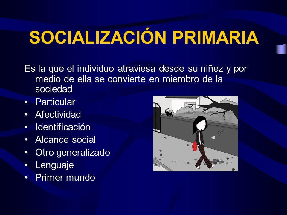 SOCIALIZACIÓN PRIMARIA Es la que el individuo atraviesa desde su niñez y por medio de ella se convierte en miembro de la sociedad Particular Afectivid