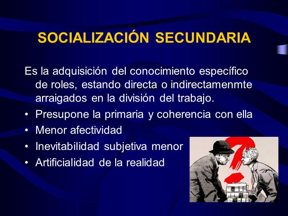 SOCIALIZACIÓN SECUNDARIA Es la adquisición del conocimiento específico de roles, estando directa o indirectamenmte arraigados en la división del traba