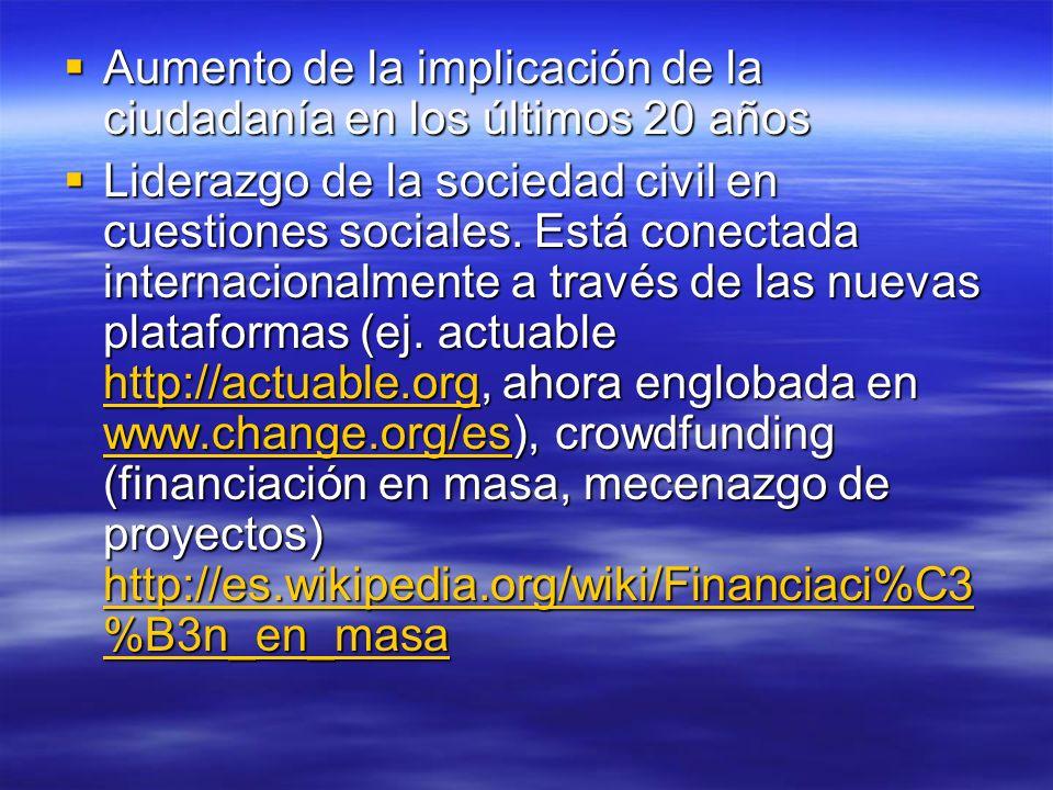 Aumento de la implicación de la ciudadanía en los últimos 20 años Aumento de la implicación de la ciudadanía en los últimos 20 años Liderazgo de la sociedad civil en cuestiones sociales.