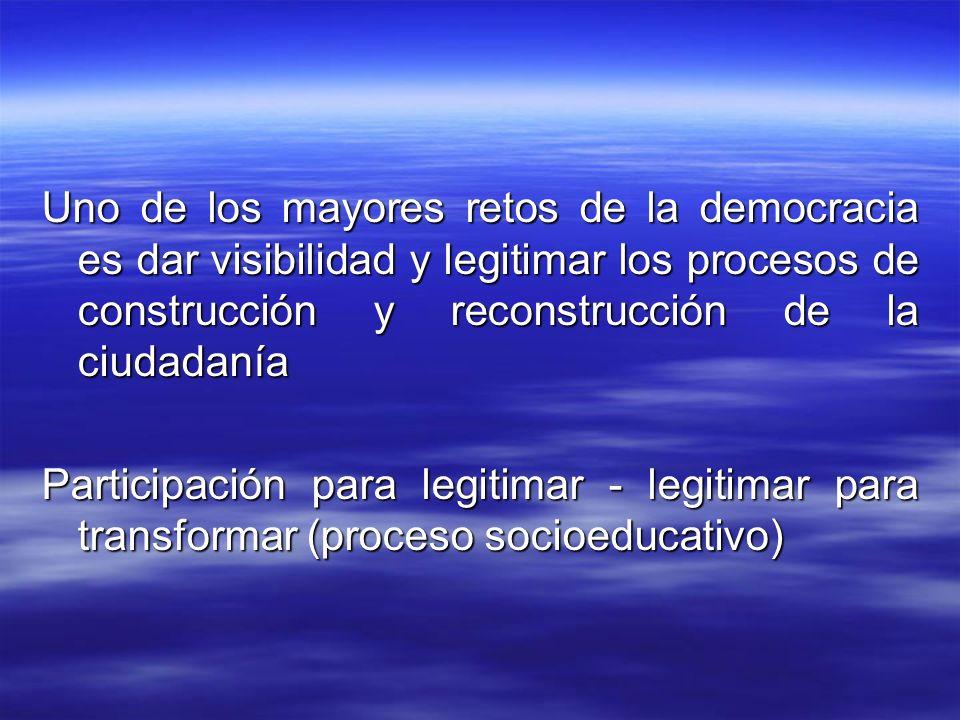 Uno de los mayores retos de la democracia es dar visibilidad y legitimar los procesos de construcción y reconstrucción de la ciudadanía Participación para legitimar - legitimar para transformar (proceso socioeducativo)