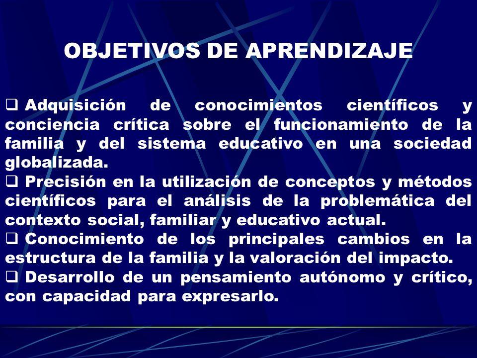 OBJETIVOS DE APRENDIZAJE Adquisición de conocimientos científicos y conciencia crítica sobre el funcionamiento de la familia y del sistema educativo e