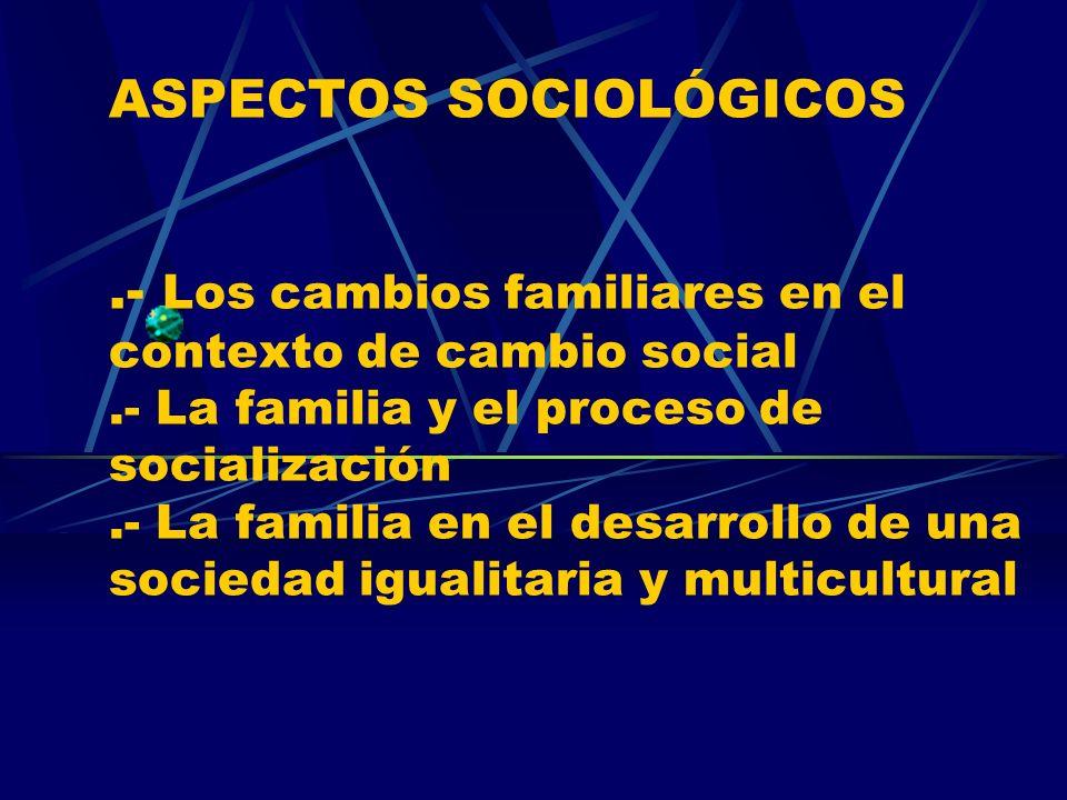 ASPECTOS SOCIOLÓGICOS.- Los cambios familiares en el contexto de cambio social.- La familia y el proceso de socialización.- La familia en el desarroll
