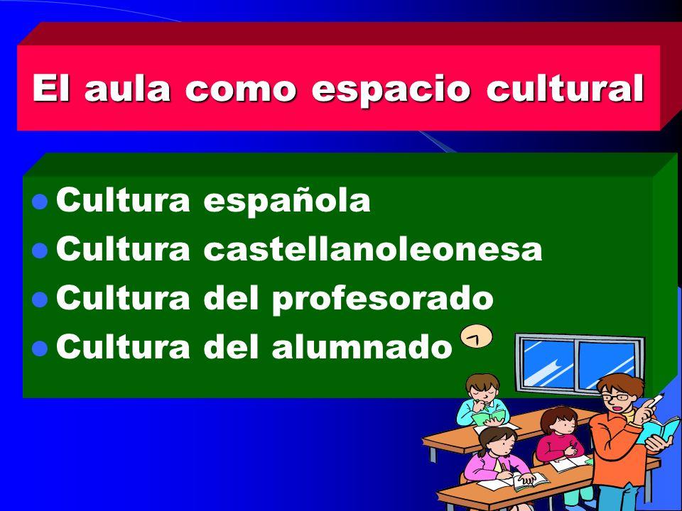 El aula como espacio cultural Cultura española Cultura castellanoleonesa Cultura del profesorado Cultura del alumnado
