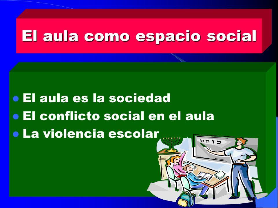 El aula como espacio social El aula es la sociedad El conflicto social en el aula La violencia escolar