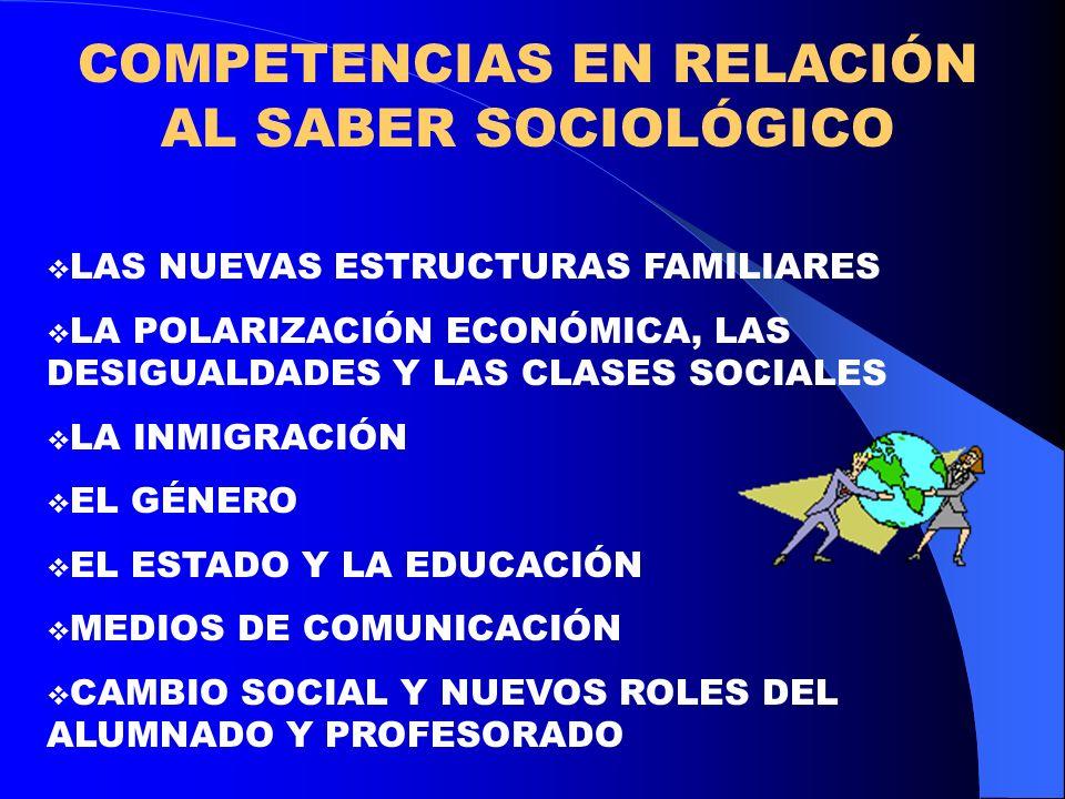 COMPETENCIAS EN RELACIÓN AL SABER SOCIOLÓGICO LAS NUEVAS ESTRUCTURAS FAMILIARES LA POLARIZACIÓN ECONÓMICA, LAS DESIGUALDADES Y LAS CLASES SOCIALES LA