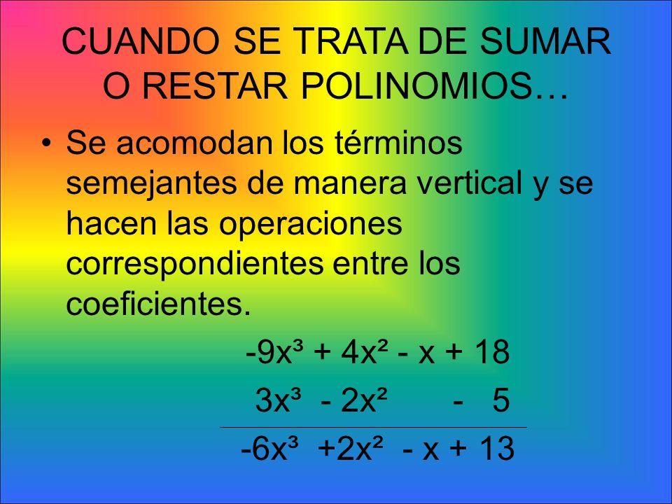 SUMA DE EXPRESIONES ALGEBRAICAS La primera condición que se debe cumplir para poder sumar o restar dos o más términos es que estos sean semejantes. La