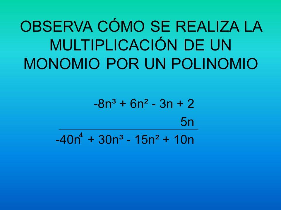 MULTIPLICACIÓN DE MONOMIOS Y POLINOMIOS. Para multiplicar debes de….. a)Multiplicar los signos. b)Multiplicar los coeficientes c)Aplicar la Ley de los