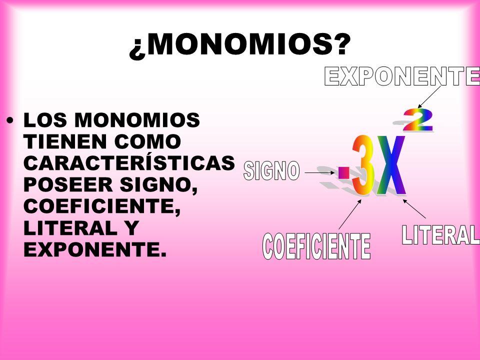¿SABES QUÉ ES UN MONOMIO Y SUS CARACTERÍSTICAS? Un monomio es una expresión algebraica que consta de un sólo término.