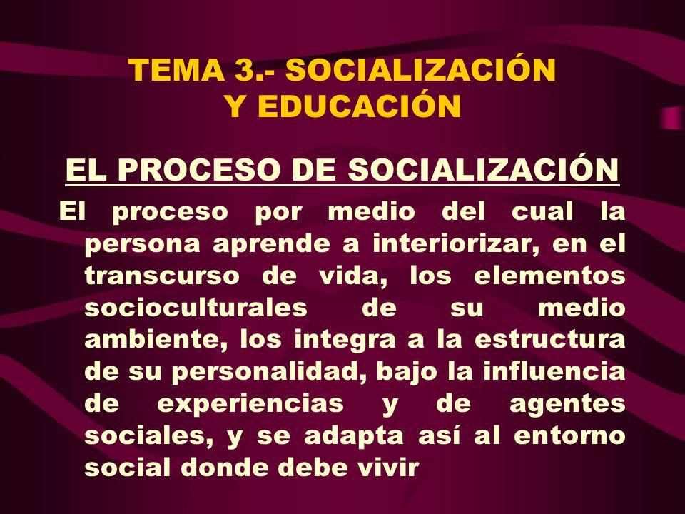 TEMA 3.- SOCIALIZACIÓN Y EDUCACIÓN EL PROCESO DE SOCIALIZACIÓN El proceso por medio del cual la persona aprende a interiorizar, en el transcurso de vi