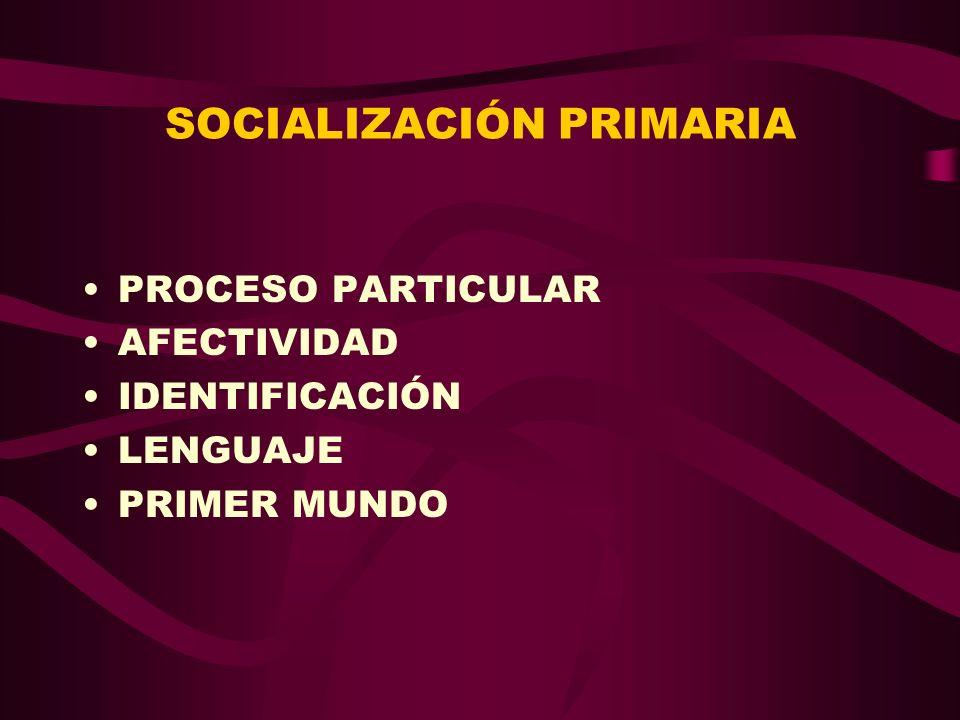 SOCIALIZACIÓN PRIMARIA PROCESO PARTICULAR AFECTIVIDAD IDENTIFICACIÓN LENGUAJE PRIMER MUNDO
