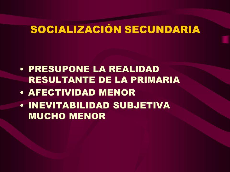 SOCIALIZACIÓN SECUNDARIA PRESUPONE LA REALIDAD RESULTANTE DE LA PRIMARIA AFECTIVIDAD MENOR INEVITABILIDAD SUBJETIVA MUCHO MENOR