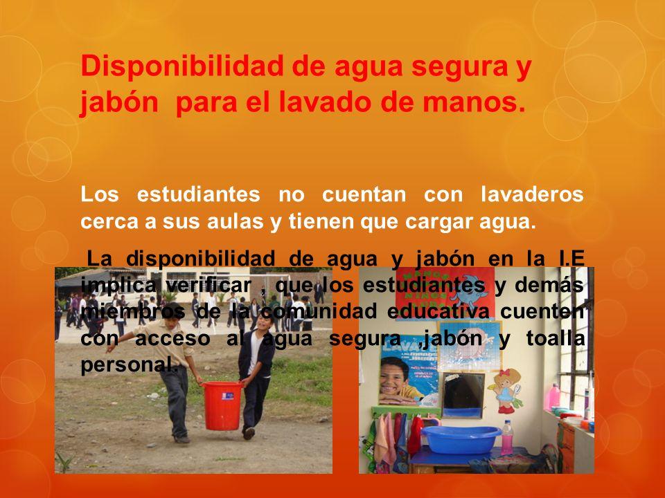 Disponibilidad de agua segura y jabón para el lavado de manos. Los estudiantes no cuentan con lavaderos cerca a sus aulas y tienen que cargar agua. La