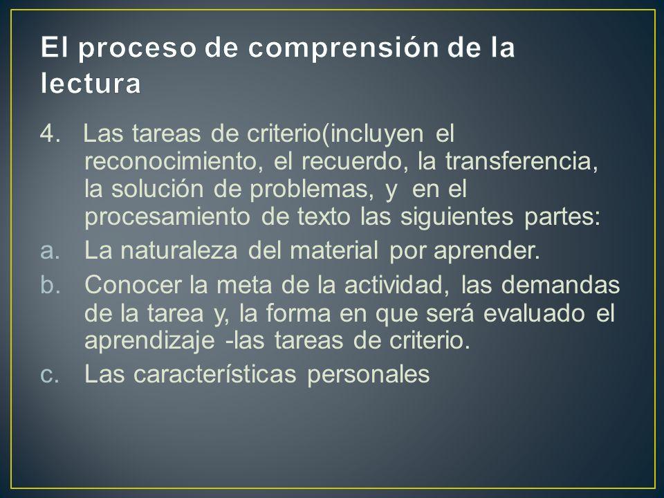4. Las tareas de criterio(incluyen el reconocimiento, el recuerdo, la transferencia, la solución de problemas, y en el procesamiento de texto las sigu