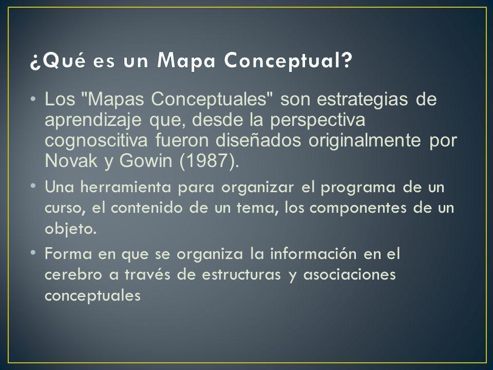 Los Mapas Conceptuales enfatizan las relaciones entre los conceptos como el elemento clave de su construcción y del proceso de aprendizaje por parte de los que las utilizan,