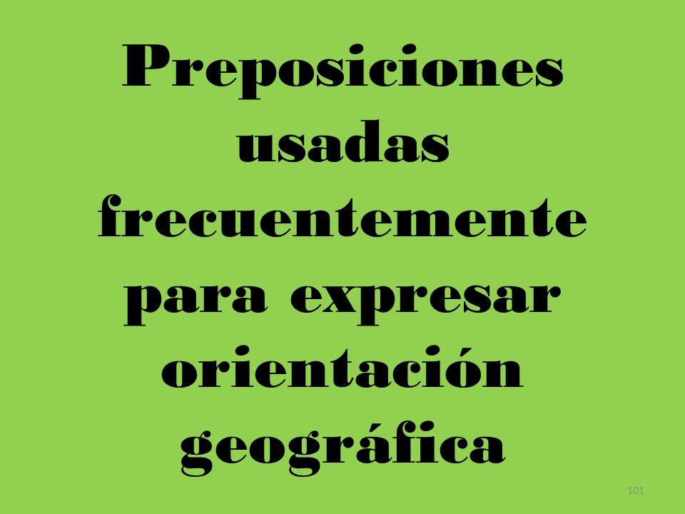101 Preposiciones usadas frecuentemente para expresar orientación geográfica
