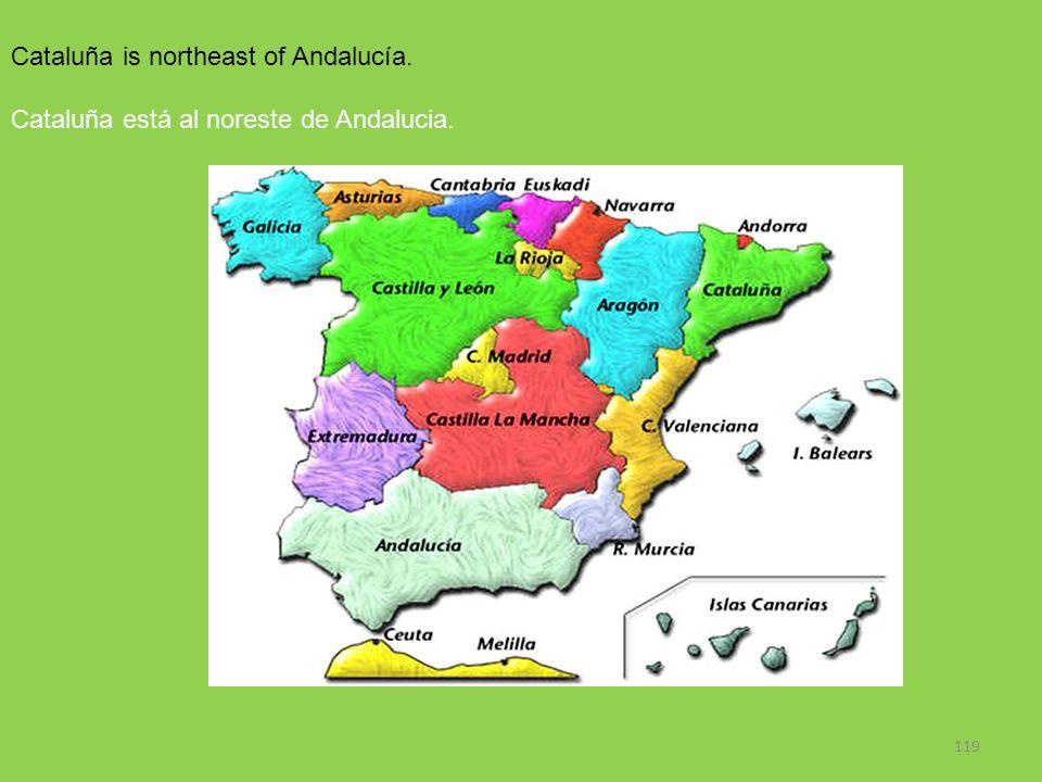 119 Cataluña is northeast of Andalucía. Cataluña está al noreste de Andalucia.