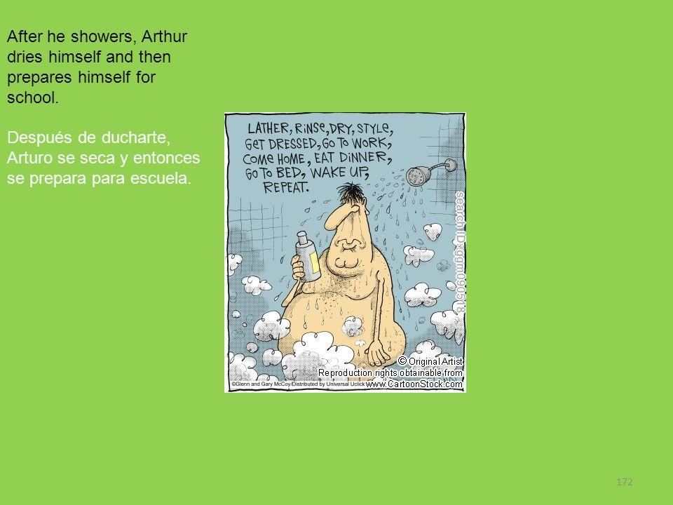 172 After he showers, Arthur dries himself and then prepares himself for school. Después de ducharte, Arturo se seca y entonces se prepara para escuel