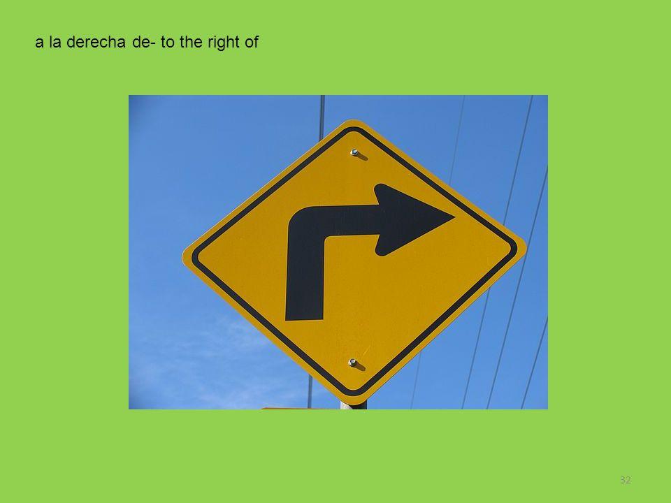 32 a la derecha de- to the right of
