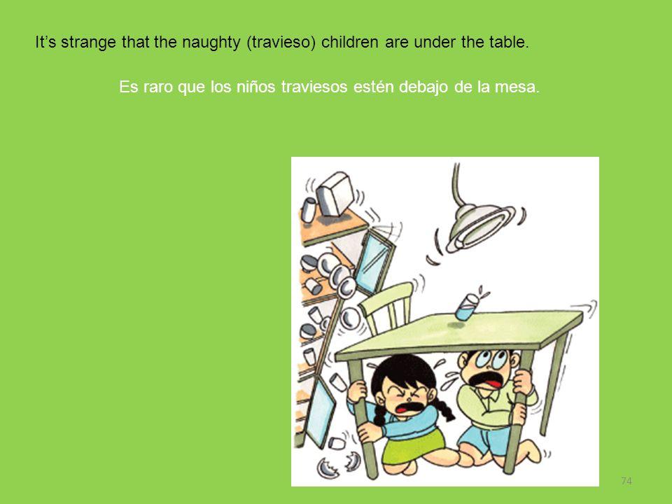 74 Its strange that the naughty (travieso) children are under the table. Es raro que los niños traviesos estén debajo de la mesa.