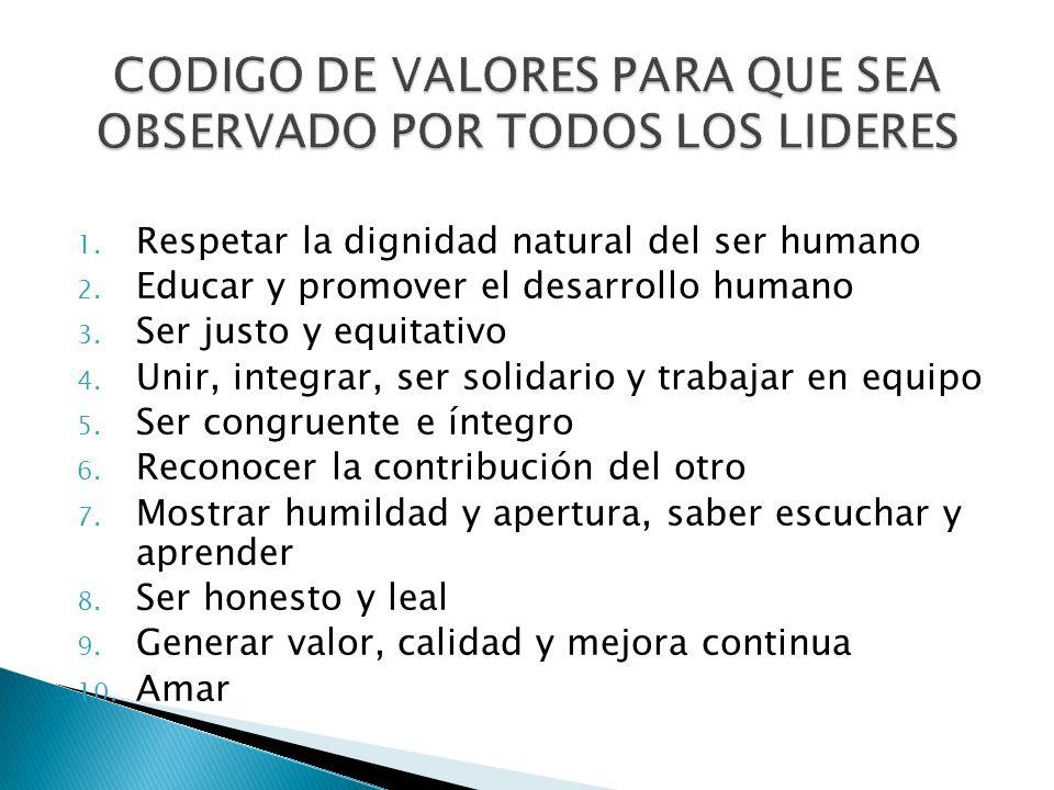 1. Respetar la dignidad natural del ser humano 2. Educar y promover el desarrollo humano 3. Ser justo y equitativo 4. Unir, integrar, ser solidario y
