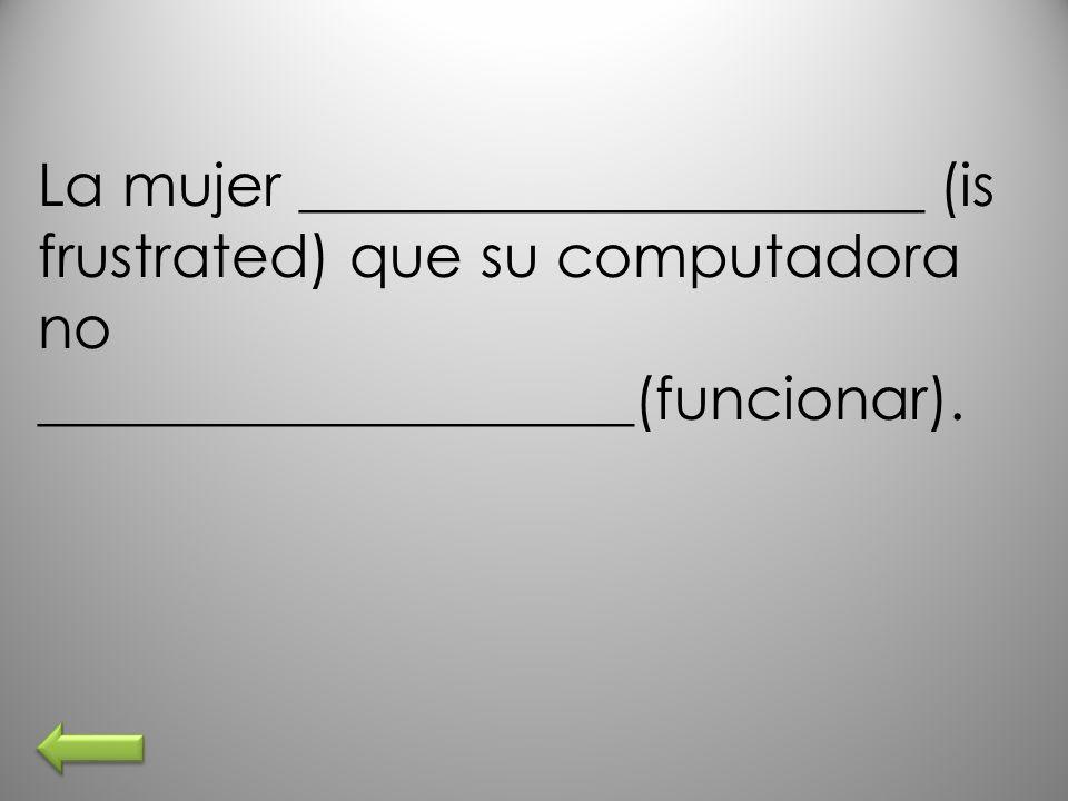 La mujer _____________________ (is frustrated) que su computadora no ____________________(funcionar).
