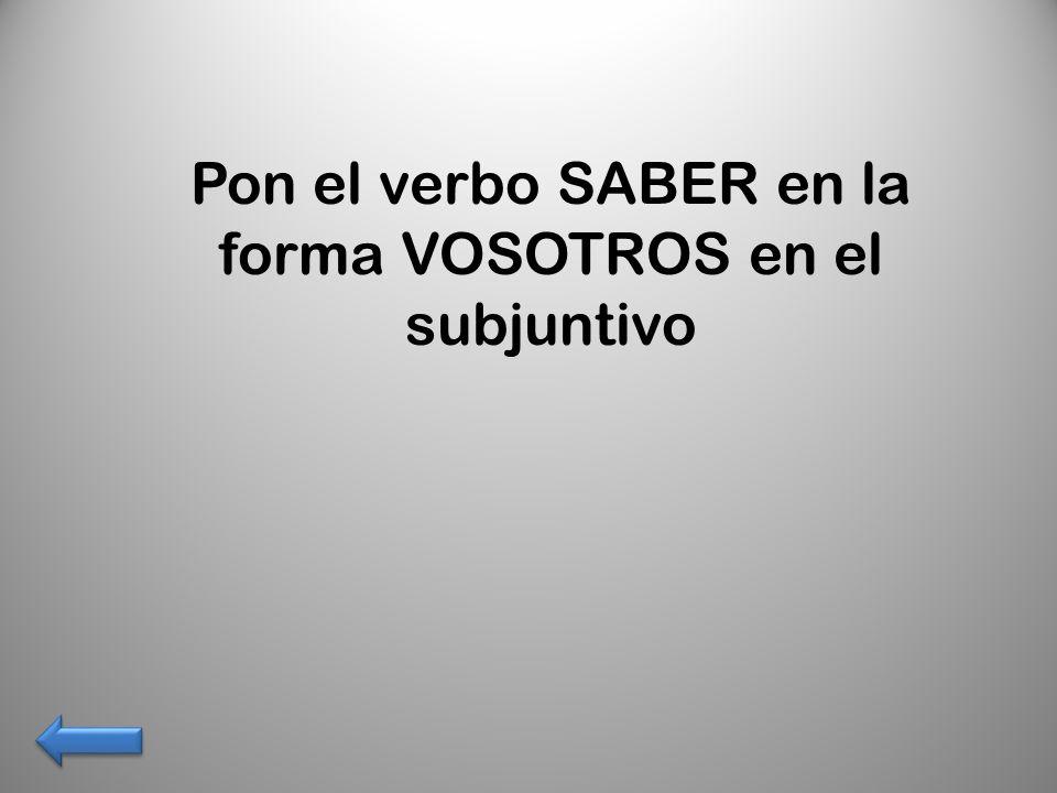 Pon el verbo SABER en la forma VOSOTROS en el subjuntivo