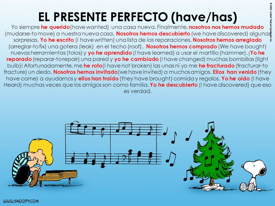 EL PRESENTE PERFECTO (have/has) Yo siempre he querido (have wanted) una casa nueva. Finalmente, nosotros nos hemos mudado (mudarse-to move) a nuestra