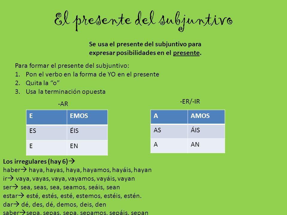 El presente del subjuntivo Se usa el presente del subjuntivo para expresar posibilidades en el presente. EEMOS ESÉIS EEN Para formar el presente del s