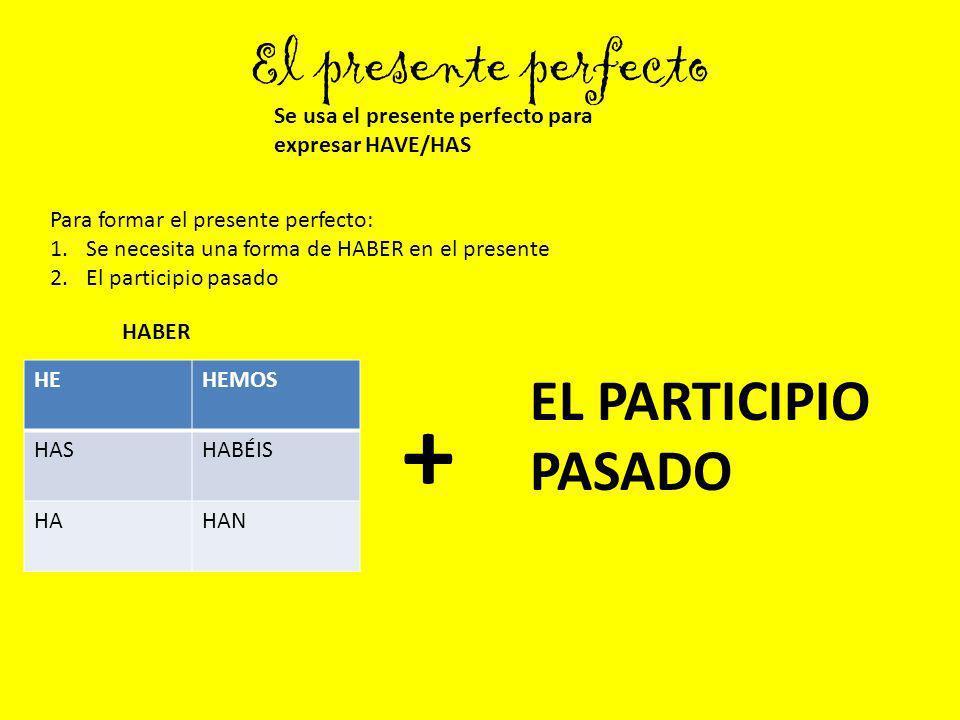 El presente perfecto Se usa el presente perfecto para expresar HAVE/HAS HEHEMOS HASHABÉIS HAHAN Para formar el presente perfecto: 1.Se necesita una fo