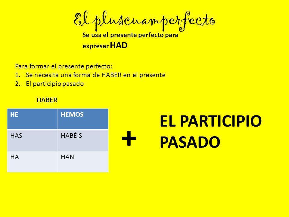 El pluscuamperfecto Se usa el presente perfecto para expresar HAD HEHEMOS HASHABÉIS HAHAN Para formar el presente perfecto: 1.Se necesita una forma de